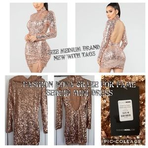 Craze for fame fashion nova sequin dress